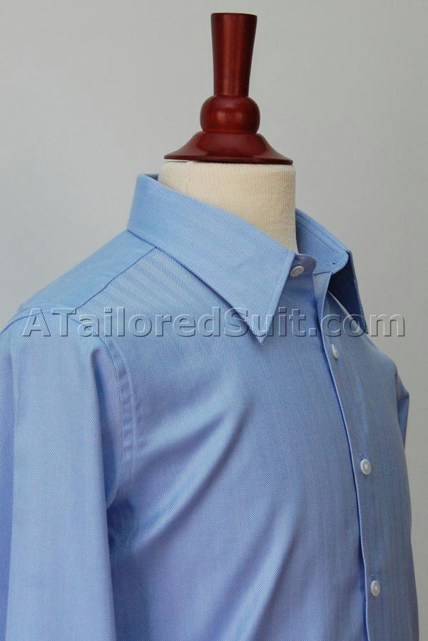 Blue Herringbone Bespoke Shirt