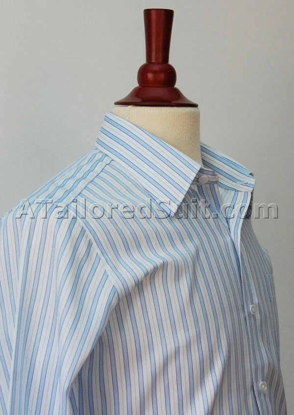 Bespoke White Dress Shirt Blue Stripes