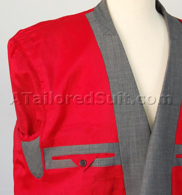 Bright red jacket lining