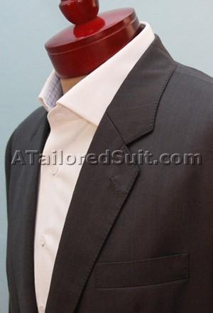 Серый мужской пиджак с голубыми полосами