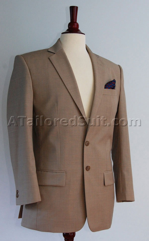 Tan Sharkskin Custom Suit
