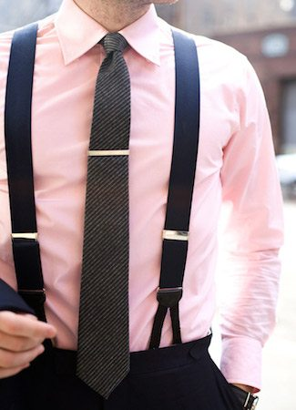Suspenders with Pink Dress Shirt