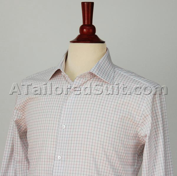 White Shirt Blue and Red Check Custom men's Dress shirt