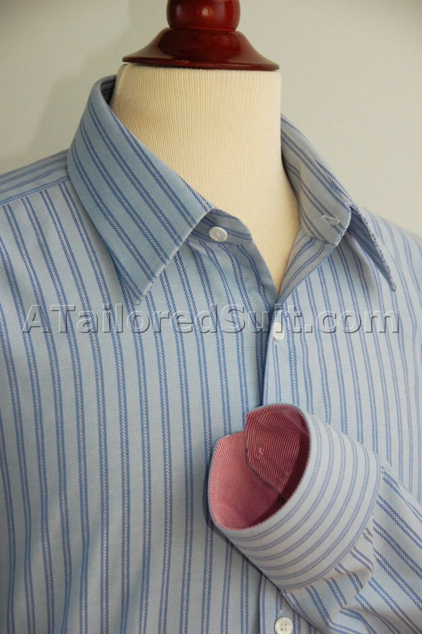 Blue with Blue Stripe bespoke Shirt