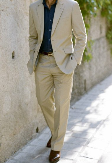 Men's Tan - Khaki - Taupe Suit Article - How to wear a custom ...