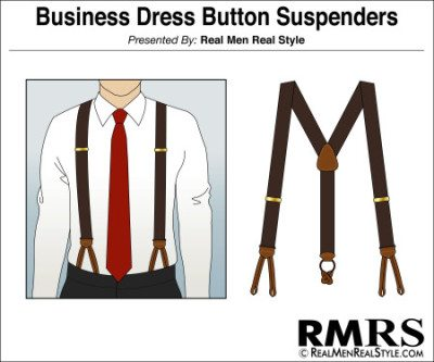 Business Dress Button Suspenders